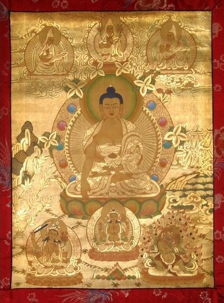 Maha Vaipulya Mahasamnipata Bhadrapala Bodhisattva Parivarta Nama Mahayana Sutra Shakyamuni-buddha-thangka-full-gold-painted