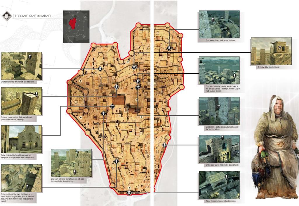 Guía de logros , trofeos y más de Assassin's Creed 2  PlumasysmbolosdeTuscany-SanGimignan