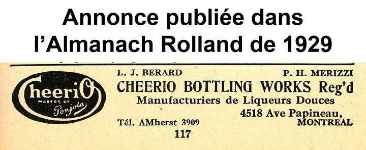 """Publicités de """"Ponjola"""" de la """"Cheerio Bottling Works"""" de Montréal - 1929 Cheerio1"""