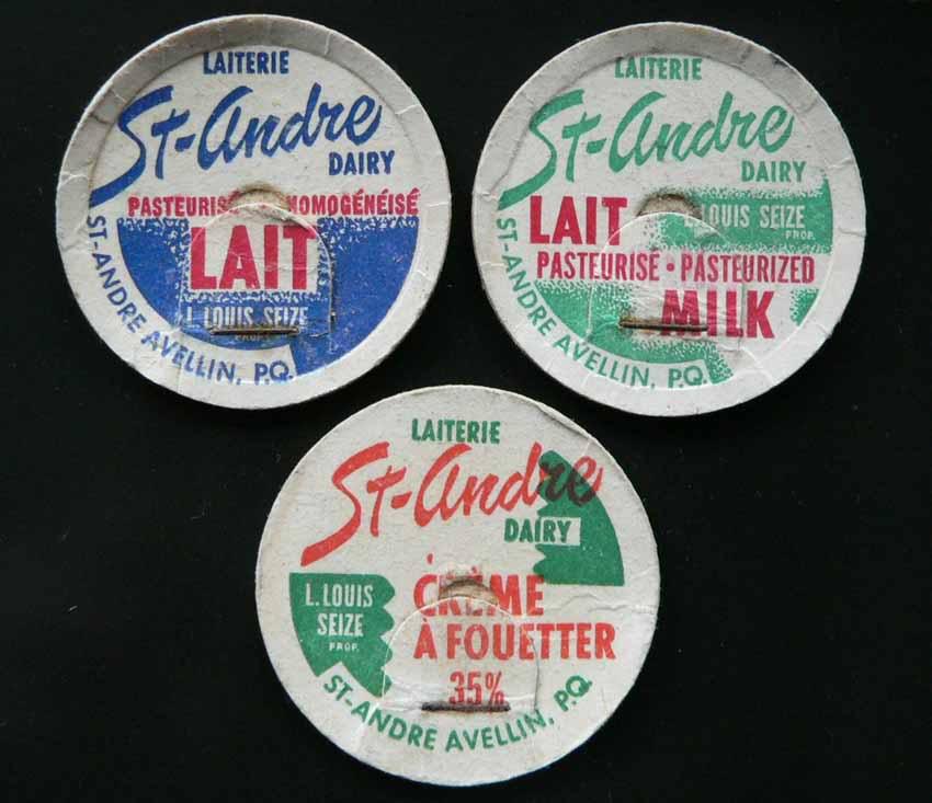 Bouchons de lait de St-André Avellin et Thurso, Québec. Cap-st-andre
