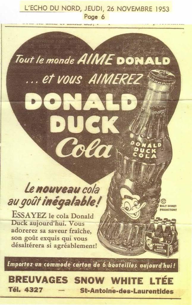 Donald Duck Cola embouteillé et vendu au Québec en 1953 Donald-duckJPG