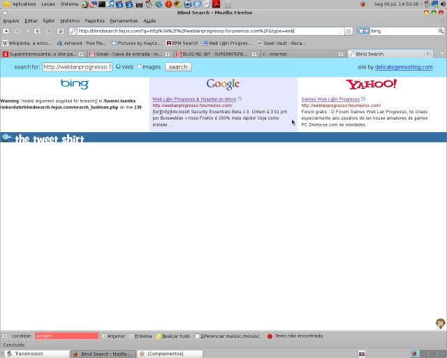 Procurando por WebLan progresso nos três melhores buscadores da Net. Captura_de_tela