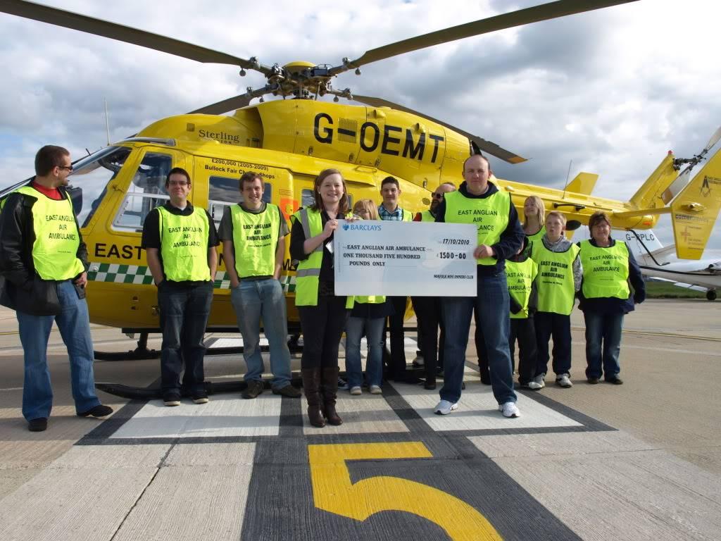 East Anglian Air Ambulance,Cheque Presentation. NorfolkMiniOwnersClubdonationtoEAAA006