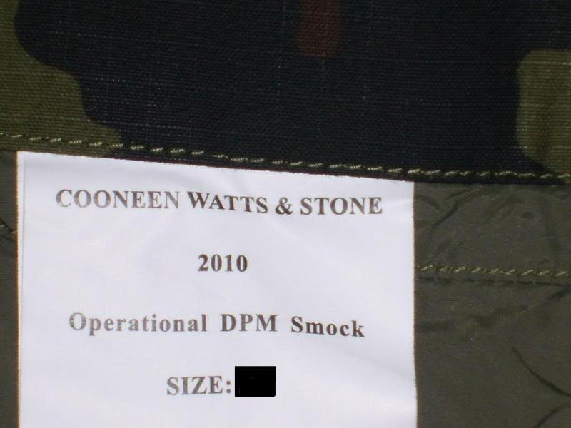2010 Pattern Irish Army Field dress. SmockLabel
