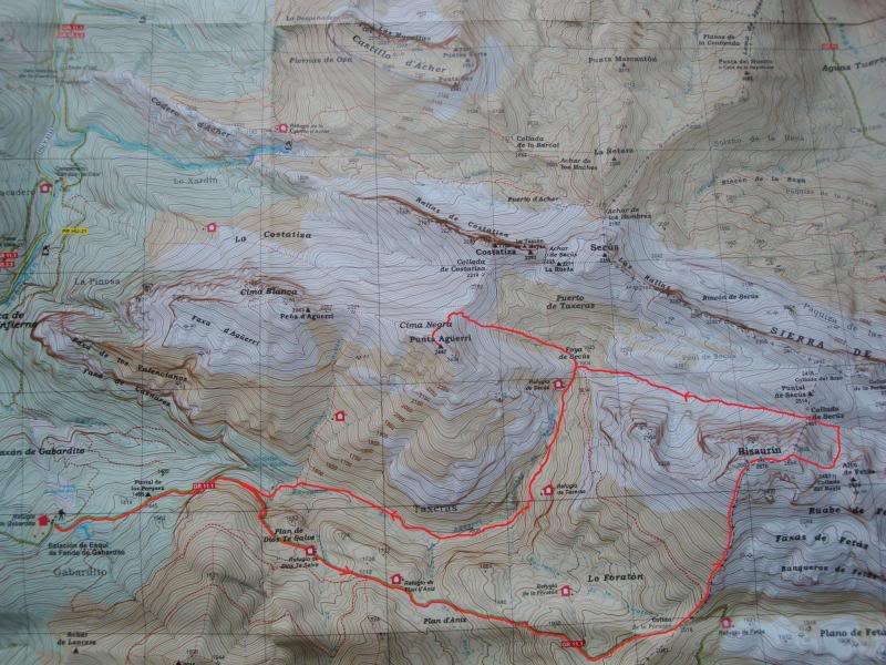 Ascensión al Bisaurin 2.670m. y Punta Agüerri 2.447m. desde Gabarnito MAPABISAURIN003