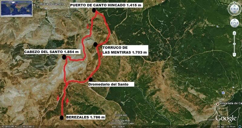 Cabezo del Santo 1.854m. desde el puerto de Canto Hincado MAPA-1