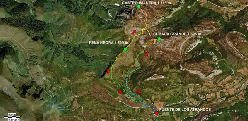 Castro Valnera 1.718m. Peña Negra 1.509m. y Cubada Grande 1.605m. MAPA