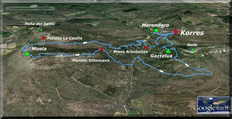 Muela 1.055m. y Gaztelua 867m. por caminos poco conocidos Mapa1