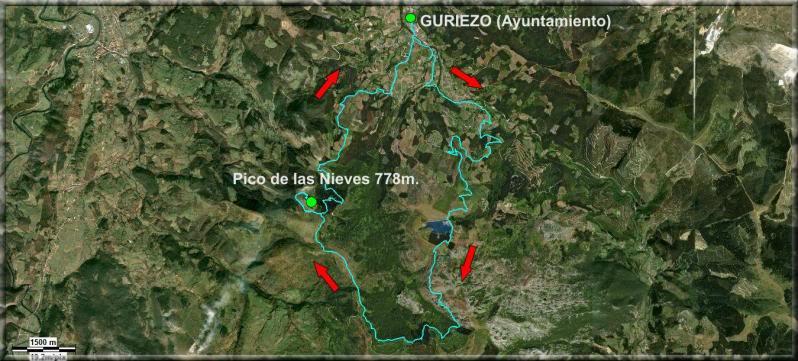 Pico de las Nieves 778m. Por los canales de agua, desde Guriezo Mapa