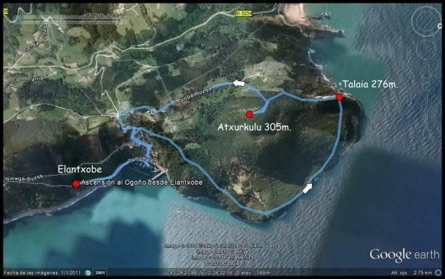 (Ogoño) Atxukulu 305m. Talaia 276m. desde Elantxobe MAPAOGOO