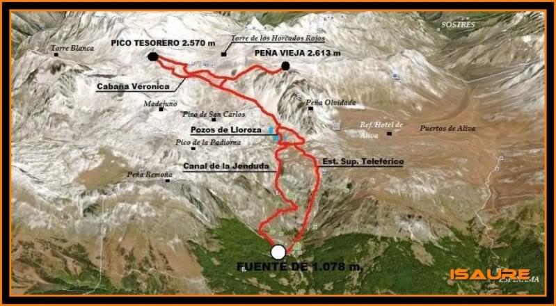 Peña Vieja 2.613m. Pico Tesorero 2.570m. Desde Fuente Dé MAPA