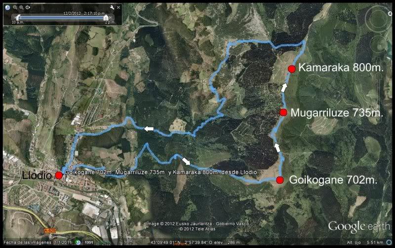 Goikogane 702, Mugarriluze 735 y Kamaraka 800m. MAPA