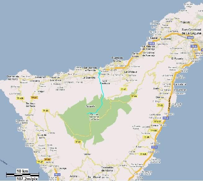 Teide 3.718m. desde la playa del Socorro MAPA-1