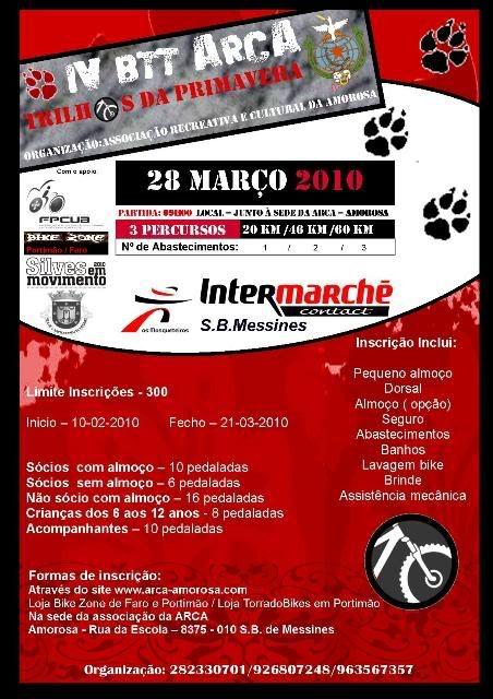 IV Btt - Arca  Amorosa - Messines  Algarve  28 de Março 2010 Cartaz