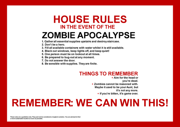 The funny picture thread... Could be NSFW Be warned!! Zombie_Apocalypse_House_Rules