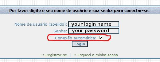 General Instructions for non Portuguese speaking members Login