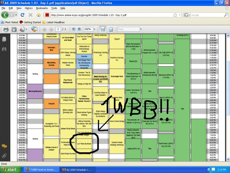 TWBB Panel at Anime Expo! TWBBAXSchedule