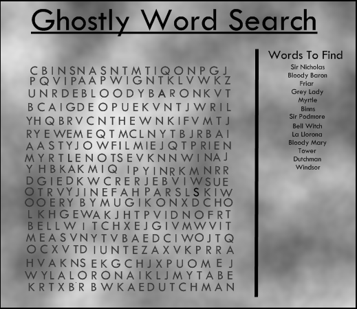Ghostly Word Search Words