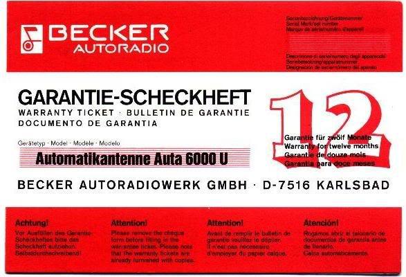 Garantia e assistência técnica rádio Becker 610 e antena elétrica Hirschmannn Garantiaantena1