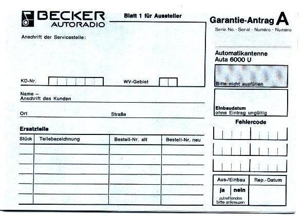 Garantia e assistência técnica rádio Becker 610 e antena elétrica Hirschmannn Garantiaantena3