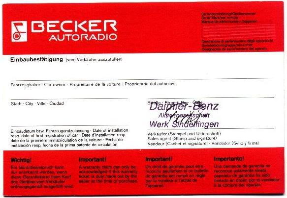 Garantia e assistência técnica rádio Becker 610 e antena elétrica Hirschmannn Garantiaantena5