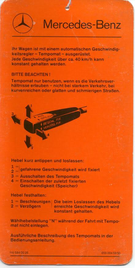 Cartão de referência do Tempomat - piloto automático TempomatDE