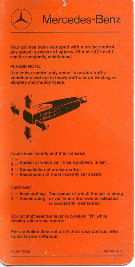 Cartão de referência do Tempomat - piloto automático TempomatENG
