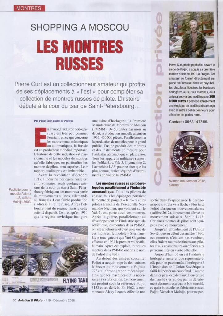 Article Montres Russes dans Magazine Aviation Truc1