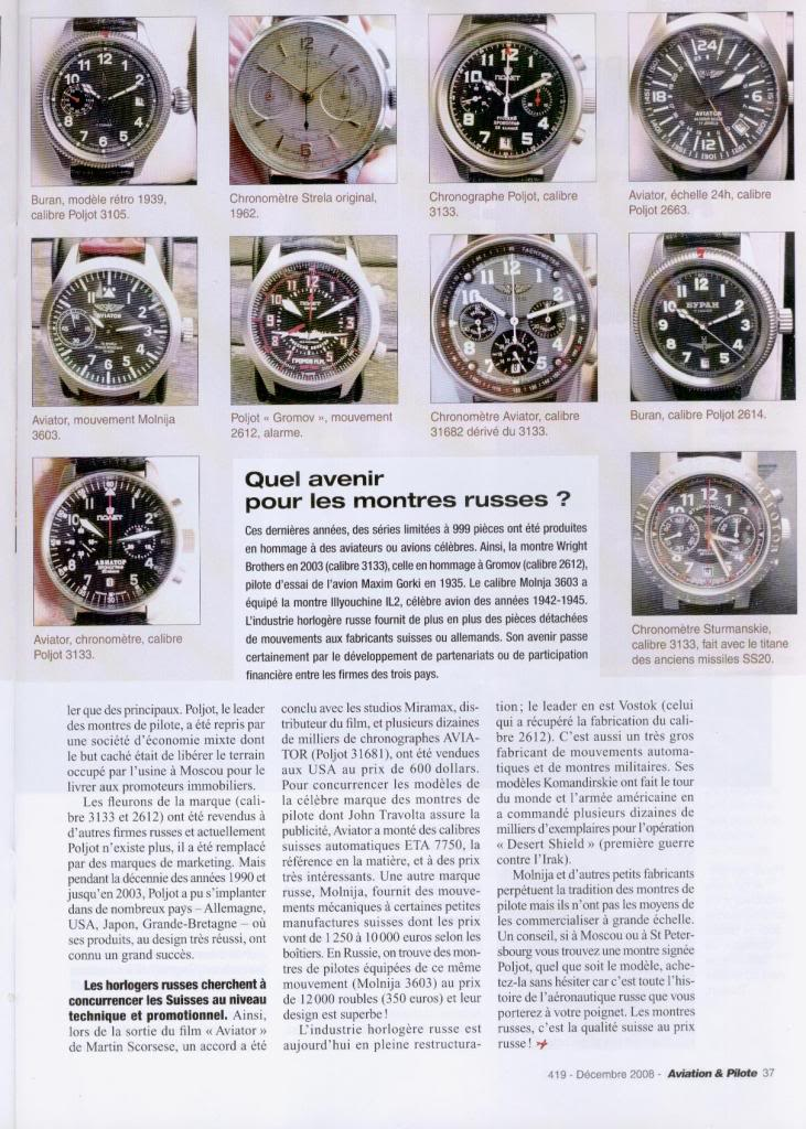 Article Montres Russes dans Magazine Aviation Truc2