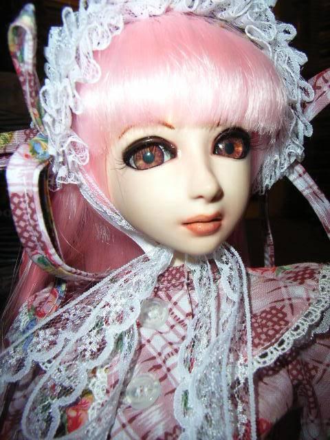 16mm eyes, lashes + pink wig DOLLYU9