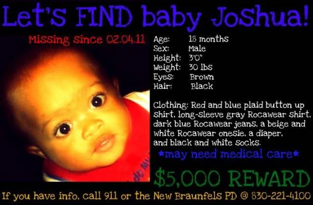Joshua Davis Jr, 18 month old missing from home in Texas. Did he wander off on his own?/ Mother gives birth to new baby/CPS has taken custody of new baby A17b8a5f