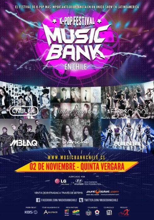 Se confirma el K-Pop festival Music Bank en Chile: Super Junior + CnBlue + Afterschool + MBLAQ y más Chilemusicbank