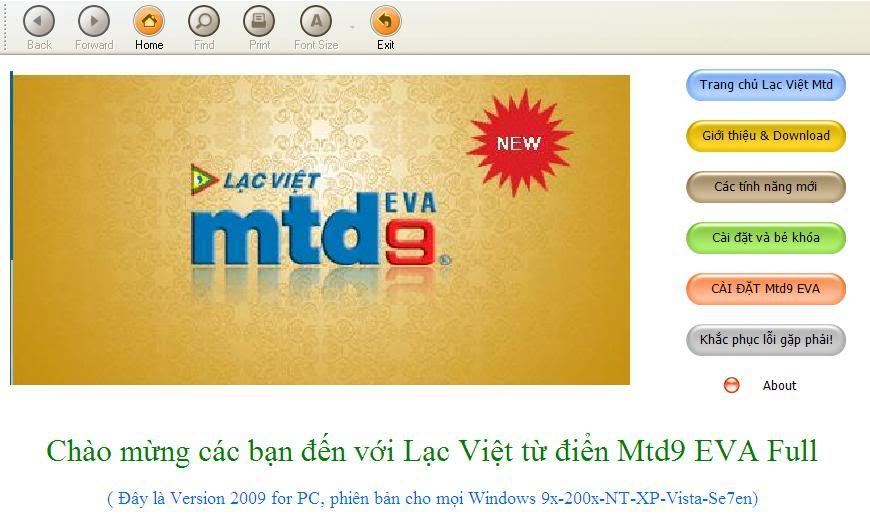 Lạc Việt MTD9 EVA 2009 - Từ điển Anh-Việt mới nhất CDMTD9FULL