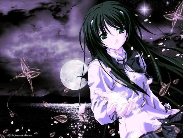 صور انمى تحت ضوء القمر  AnimeGirlMoon