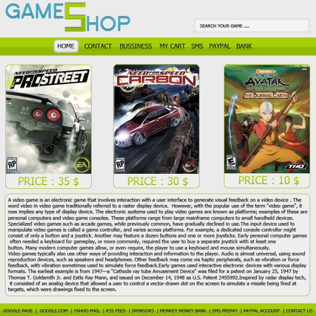 Games Shop ! GamesShopTemplate