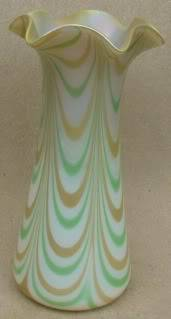 Pale green and gold striped vase with fluted rim for ID Unknown6