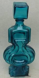 Blue glass moulded decanter & stopper for ID Unknown7