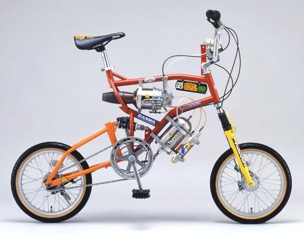 Una bicicleta comercial equipada con un jet Faiyatorikkubobu