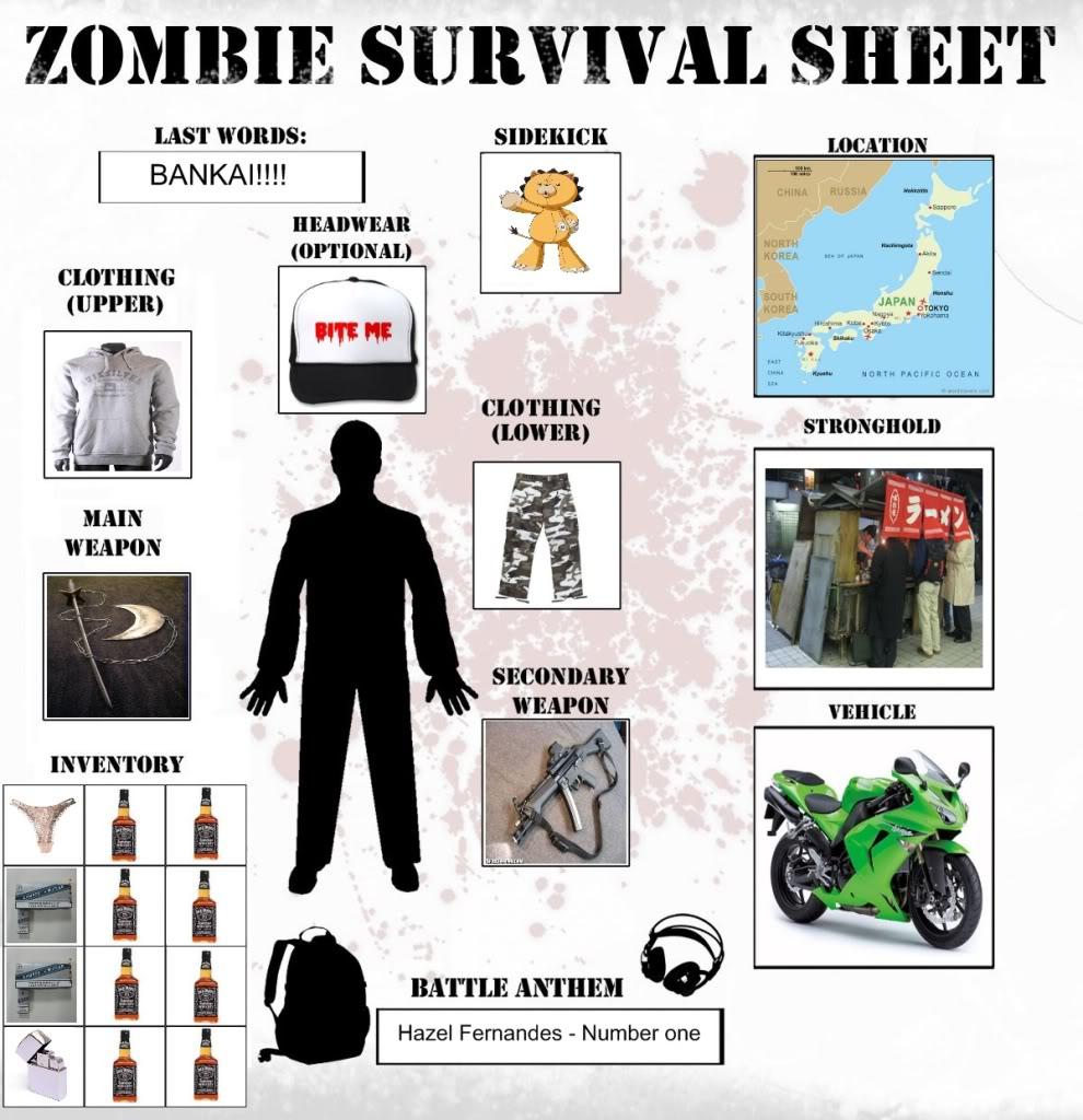 Zombie Apocalypse Survival Sheet. Get Yours! Zombiesurviveagistyle
