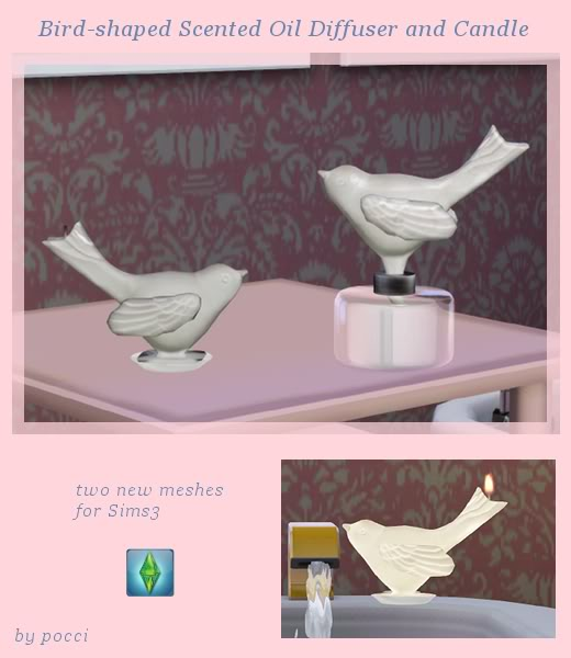Bird-shaped diffuser and candle Sims 3 Cherrystore_birds-1
