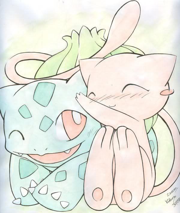 Nhận tìm , post hình Wallpaper pokemon , pokemon Mew_and_Bulbasaur_by_Kidura
