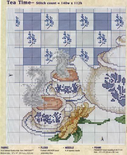 Juego de Cocina bordado en tonos azules - un té calentito!!!! Tea-1