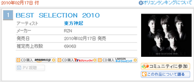 [Info] 100217 Tohoshinki BEST SELECTION n° 1 en Oricon por 2do día 3