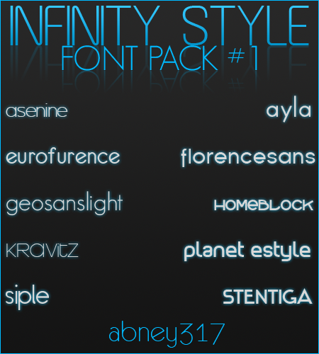 [Fonts] Infinity Style Font Pack #1 Fontpack1