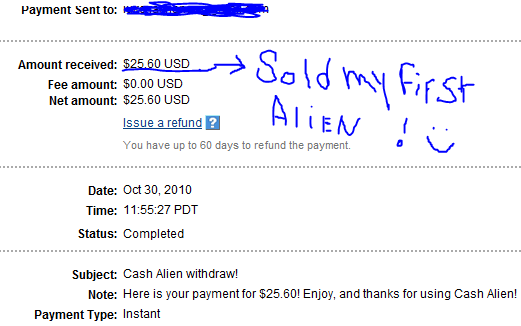 My Payments Thread (Updated - 12/23/10) Aliensold