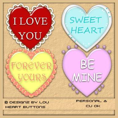 Valentine Heart Buttons - By: Designz By Lou PREVIEW