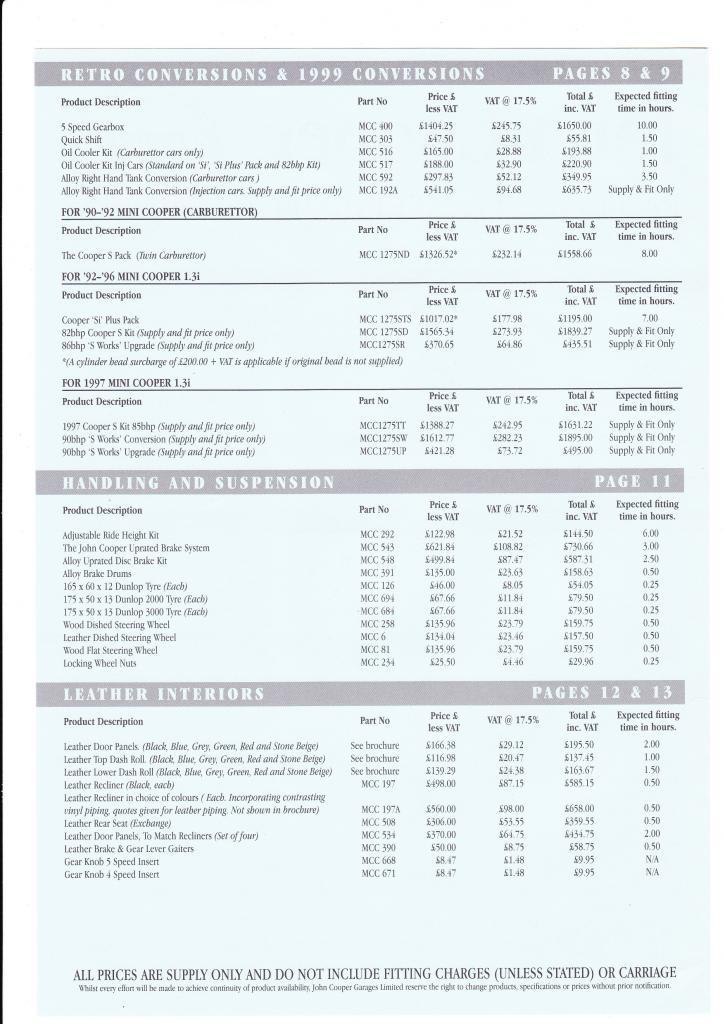 Mini Cooper S Works - 1999 Press Release & Price List 1999-PriceList-2_zps41c45bb3