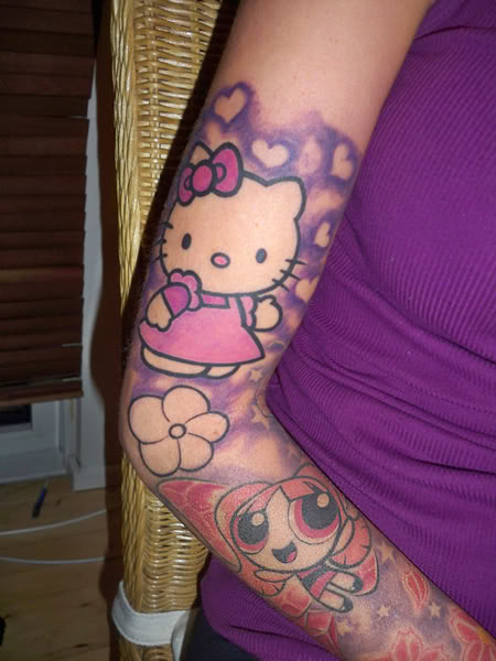 Hello Kitty/Powerpuff sleeve tattoo Pictures, Images and Photos