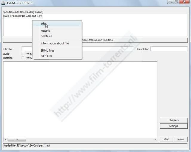 Hoe twee delige avi met srt(sub) ,samenvoegen met AVIMux_GUI ScreenHunter_57Jun281415
