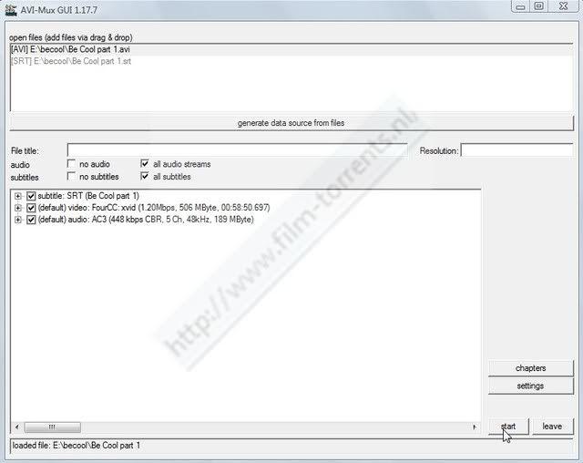 Hoe twee delige avi met srt(sub) ,samenvoegen met AVIMux_GUI ScreenHunter_60Jun281416